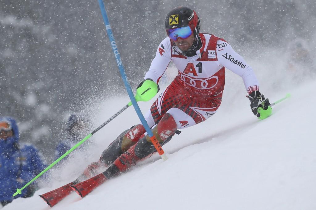 Austria's Marcel Hirscher competes during an alpine ski, men's World Cup slalom, in Kitzbuehel, Austria, Saturday Jan. 26, 2019. (AP Photo/Alessandro ...