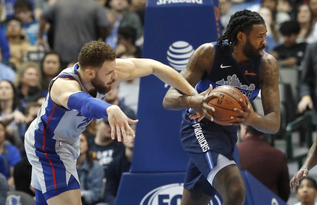 premium selection 69fef 5ccf1 Dallas Mavericks center DeAndre Jordan (6) grabs the ball against Detroit  Pistons forward Blake