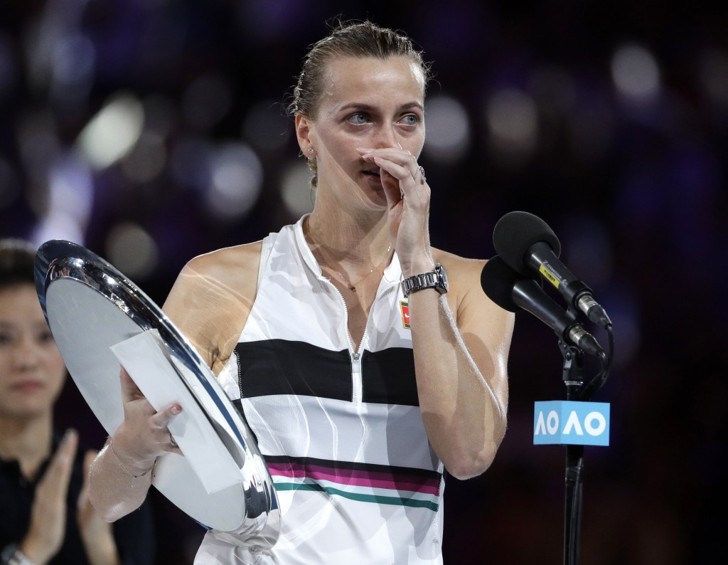 Petra Kvitova of the Czech Republic speaks after losing to Japan's Naomi Osaka in the women's singles final at the Australian Open tennis championship...