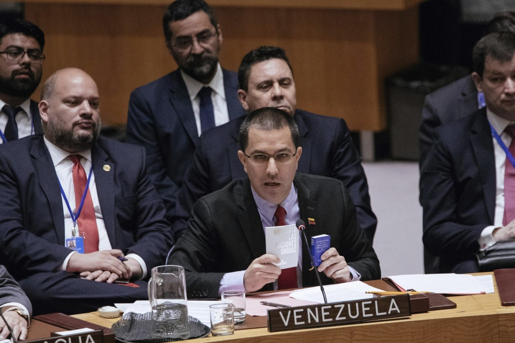 Venezuela's Minister of Foreign Affairs Jorge Arreaza speaks during the United Nations Security Council at the U.N. Saturday, Jan. 26, 2019, in New Yo