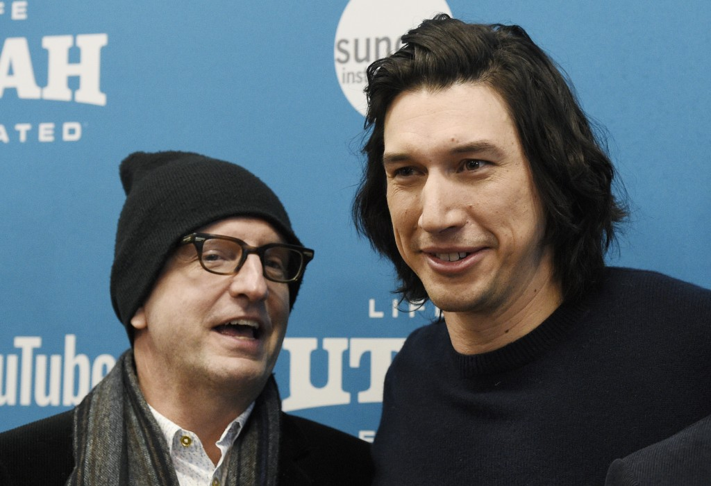 """Steven Soderbergh, left, producer of """"The Report,"""" with cast member Adam Driver attends the premiere of the film during the 2019 Sundance Film Festiva..."""