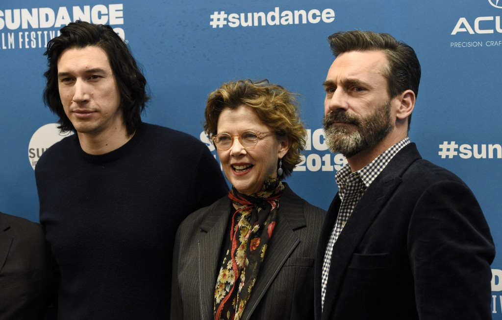 "Adam Driver, from left, Annette Bening and Jon Hamm, cast members in ""The Report,"" pose together at the premiere of the film during the 2019 Sundance"