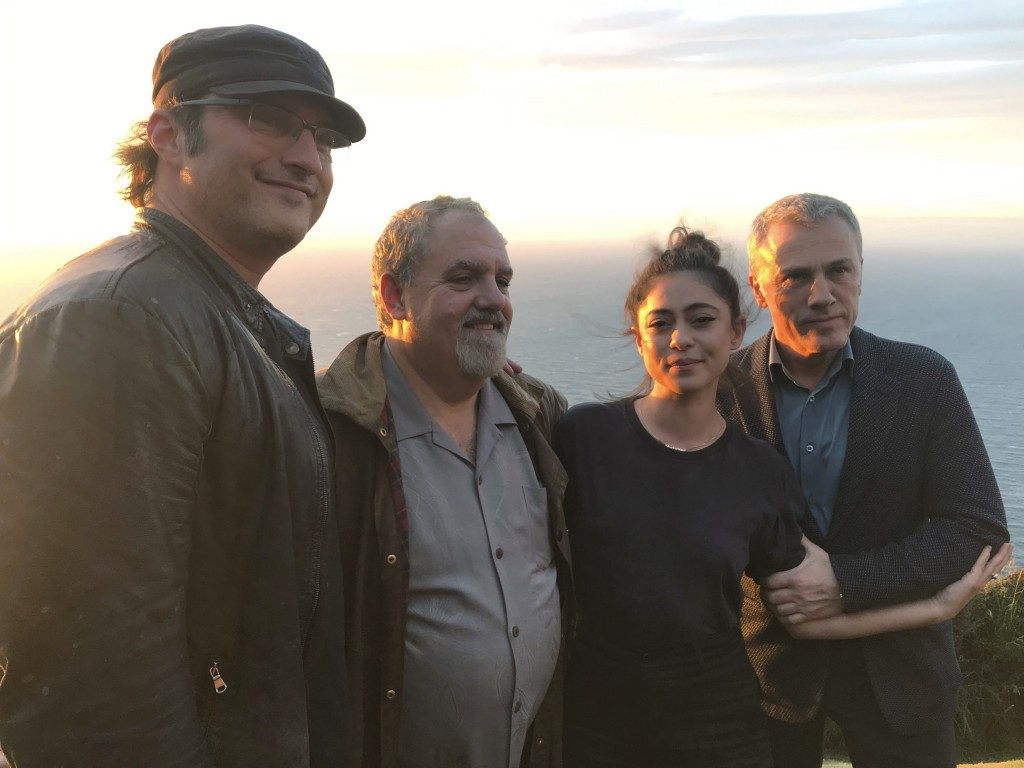 In this photo taken on Jan. 9, 2019, from left, director Robert Rodriguez, producer Jon Landau, actors Rosa Salazar and Christoph Waltz pose for a pho