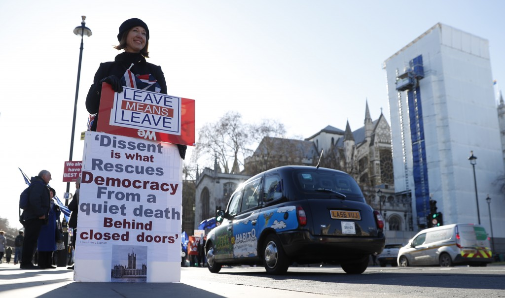 A pro Brexit protester demonstrates outside the Houses of Parliament in London, Monday, Jan. 28, 2019. British Prime Minister Theresa May faces anothe...