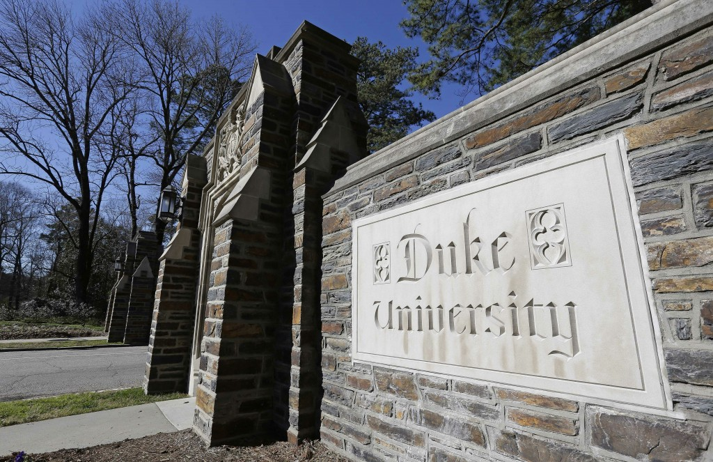 This Jan. 28, 2019 photo shows the entrance to the main Duke University campus in Durham, N.C. The Duke University professor and administrator who spa...