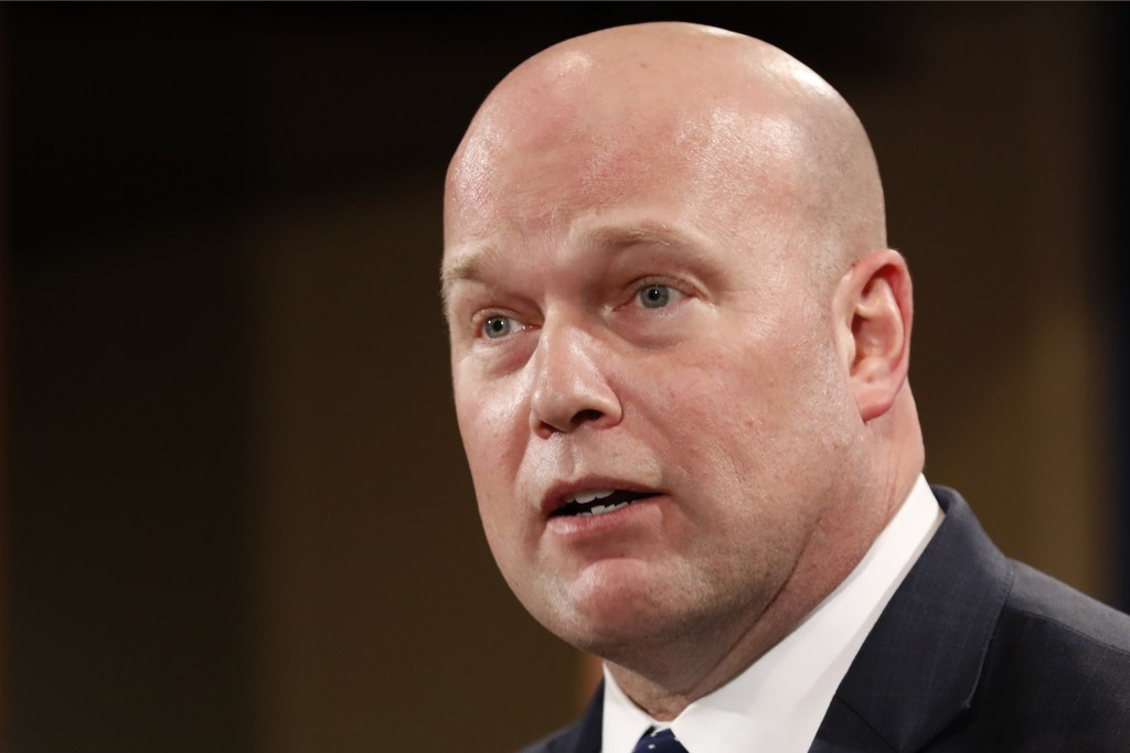 Acting Attorney General Matt Whitaker announces an indictment on violations including bank and wire fraud, Monday, Jan. 28, 2019, of Chines telecommun...
