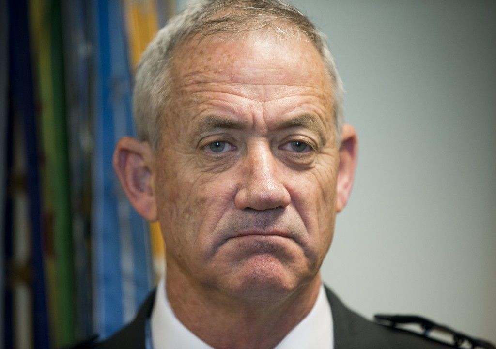 FILE - In this Jan. 8, 2015 file photo, then Israeli Defense Minister Benny Gantz meets with the Joint Chiefs Chairman Gen. Martin E. Dempsey, at the