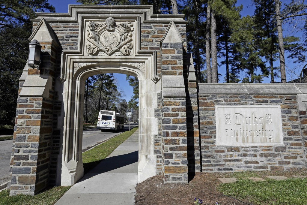 An entrance to the main Duke University campus is seen in Durham, N.C., Monday, Jan. 28, 2019. The University's medical school has issued an apology a...