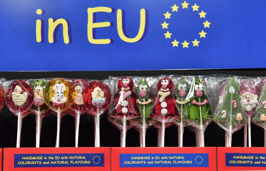Lollipops handmade in the EU are displayed at the international candy fair ISM in Cologne, Germany, Wednesday, Jan. 30, 2019. Approx. 5 % of German pr...