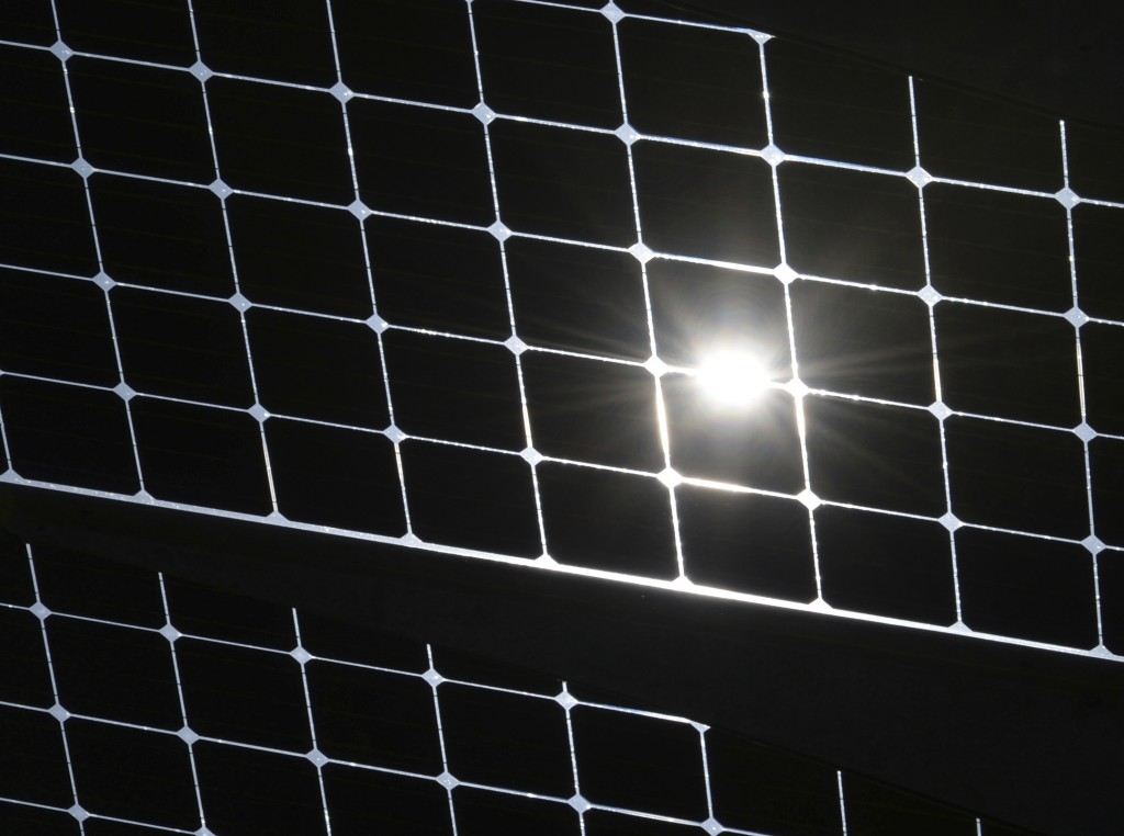 FILE--- Picture taken 24 April 2017 shows cells of a solar power plant in Herdwangen, Germany, (Patrick Seeger/dpa via AP)