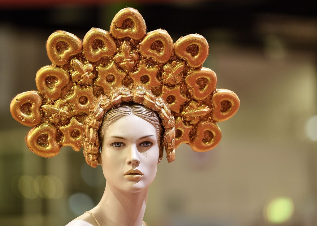 A display dummy wears golden German lebkuchen (Gingerbread) at the international candy fair ISM in Cologne, Germany, Wednesday, Jan. 30, 2019. Approx....