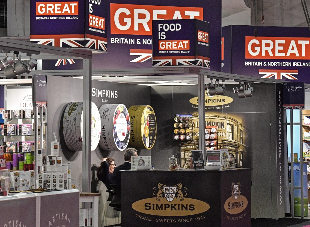 British candy producers show their products at the international candy fair ISM in Cologne, Germany, Wednesday, Jan. 30, 2019. Approx. 5 % of German p...