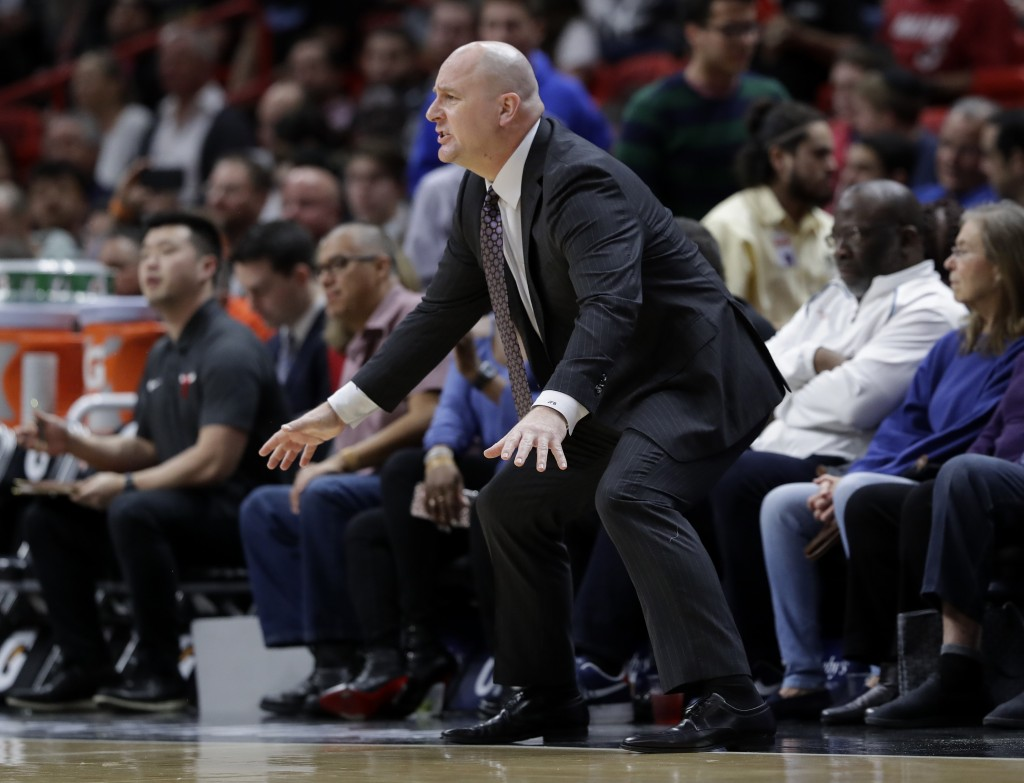 Chicago Bulls head coach Jim Boylen watches during the first half of an NBA basketball game against the Miami Heat, Wednesday, Jan. 30, 2019, in Miami...