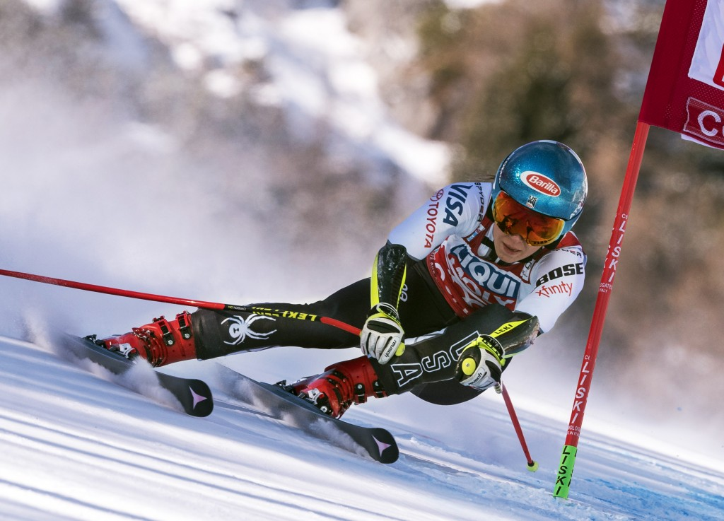 FILE - In this Jan. 20, 2019, file photo, Mikaela Shiffrin, of the United States, competes during a women's skiing World Cup super-G race in Cortina d...