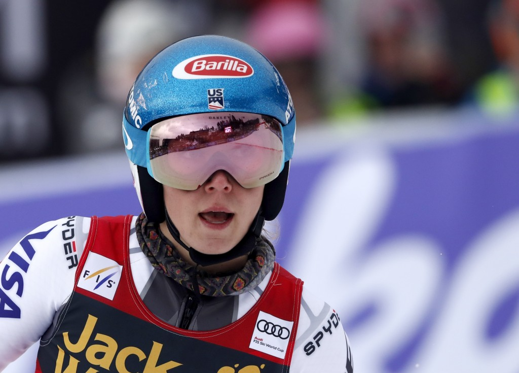 United States' Mikaela Shiffrin checks her time at the finish area of an alpine ski, women's World Cup giant slalom, in Maribor, Slovenia, Friday, Feb...