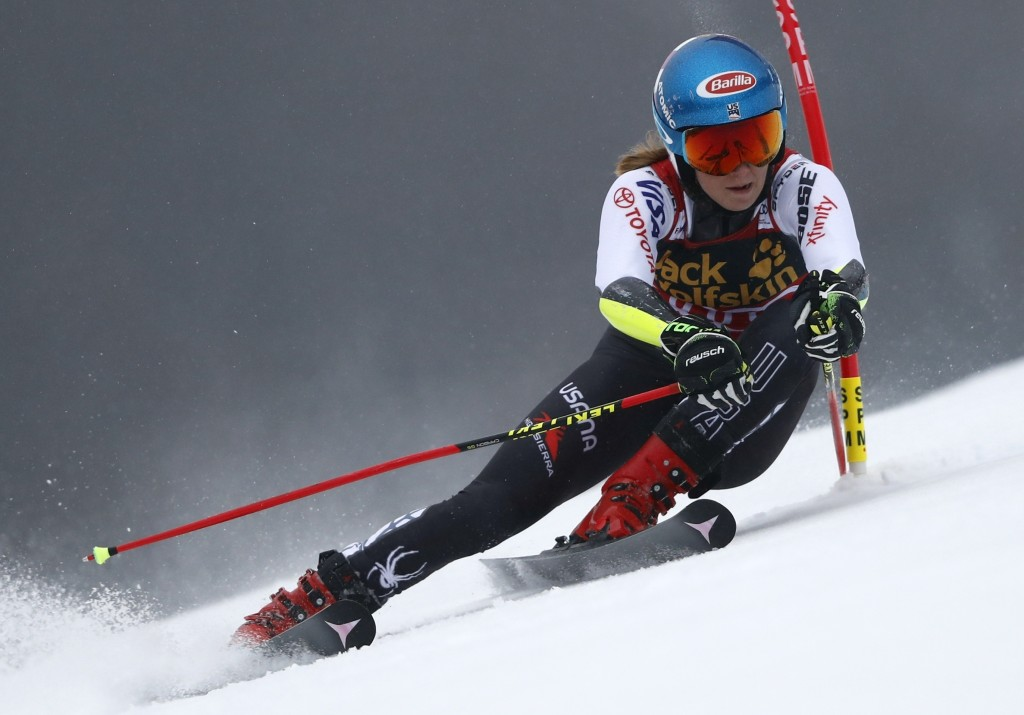 United States' Mikaela Shiffrin speeds down the course during an alpine ski, women's World Cup giant slalom, in Maribor, Slovenia, Friday, Feb. 1, 201...