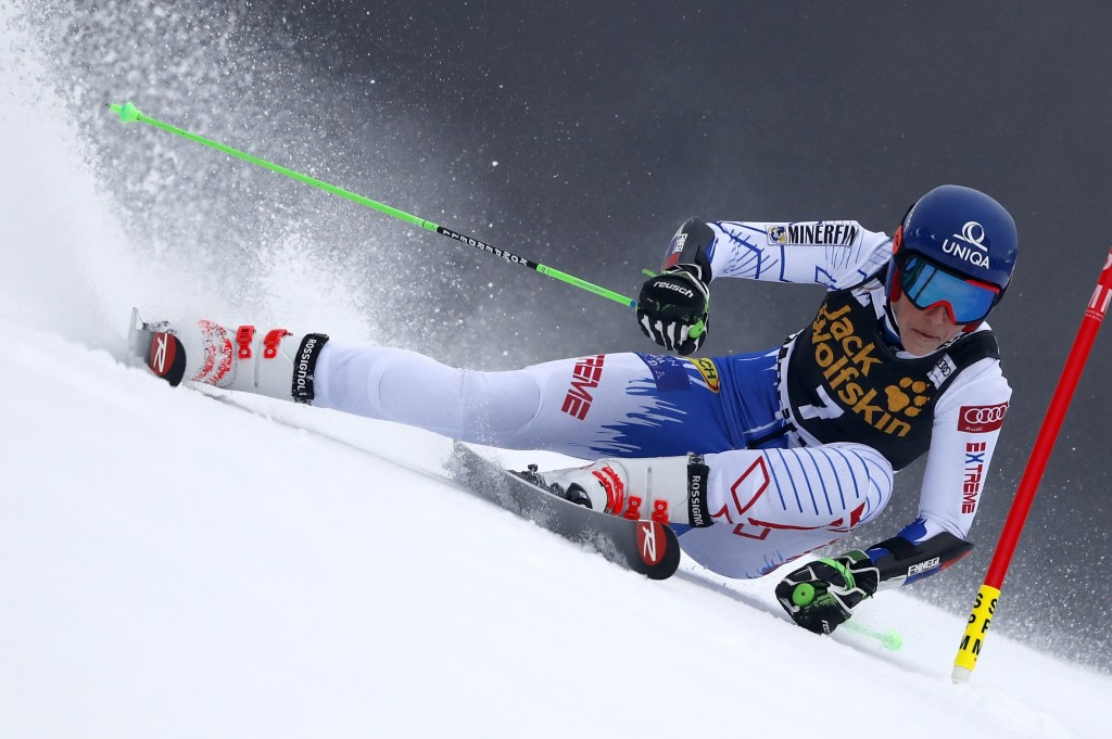Slovakia's Petra Vlhova speeds down the course during an alpine ski, women's World Cup giant slalom, in Maribor, Slovenia, Friday, Feb. 1, 2019. (AP P...