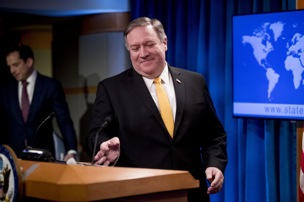 Secretary of State Mike Pompeo arrives for a news conference at the State Department in Washington, Friday, Feb. 1, 2019. Secretary of State Mike Pomp