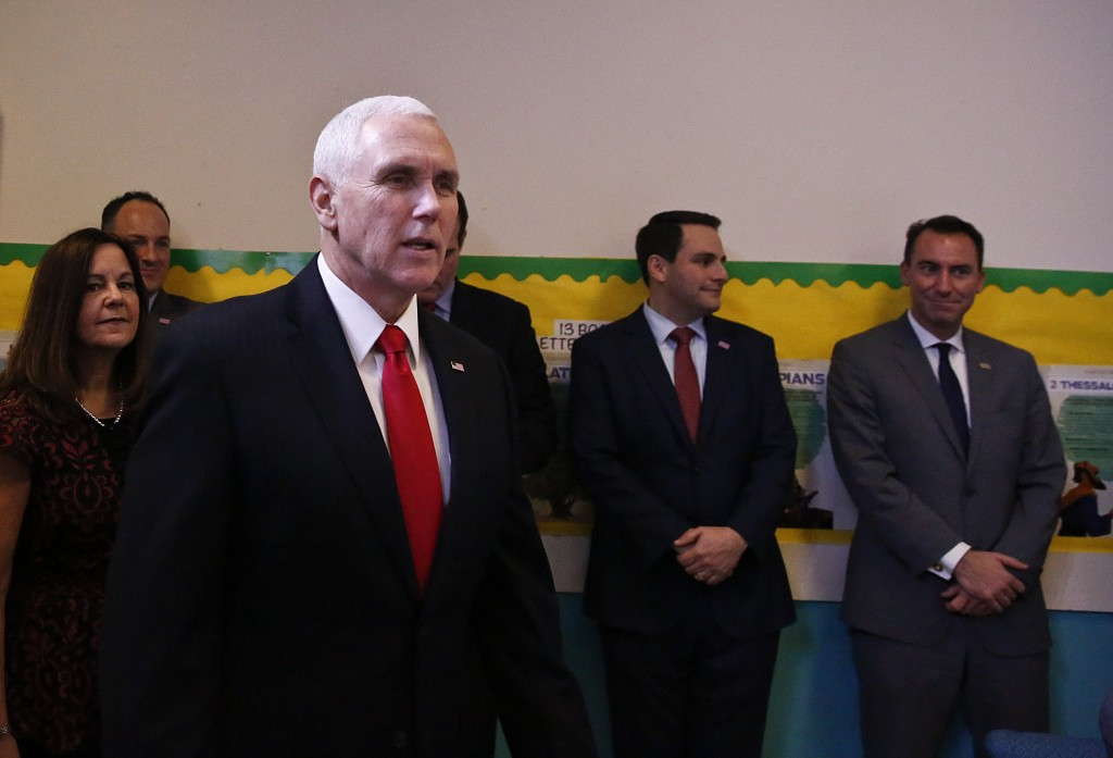 Vice President Mike Pence arrives to speak at Iglesia Doral Jesus Worship Center for a roundtable discussion on the political crisis in Venezuela with...