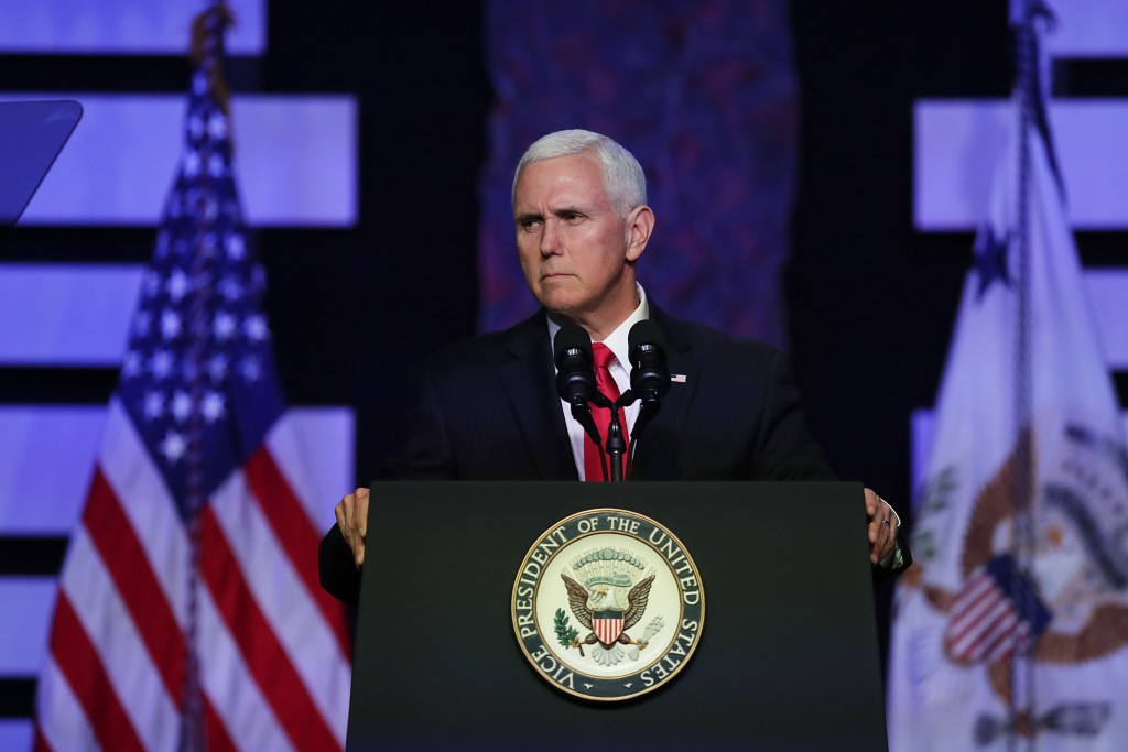 Vice President Mike Pence speaks at Iglesia Doral Jesus Worship Center on the political crisis in Venezuela on Friday, Feb. 1, 2019, in Doral, Fla. (A...