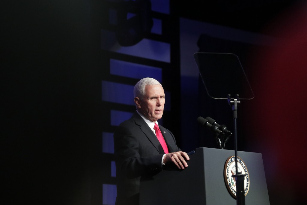Vice President Mike Pence speaks at Iglesia Doral Jesus Worship Center on the political crisis in Venezuela on Friday, Feb. 1, 2019, in Doral, Fla. (A