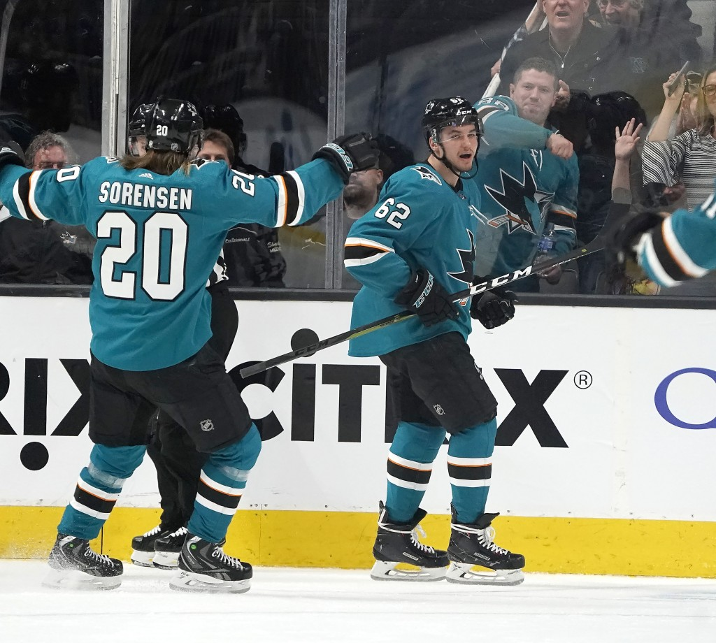 San Jose Sharks right wing Kevin Labanc (62) celebrates with teammate Marcus Sorensen (20) after scoring a goal against the Arizona Coyotes during the