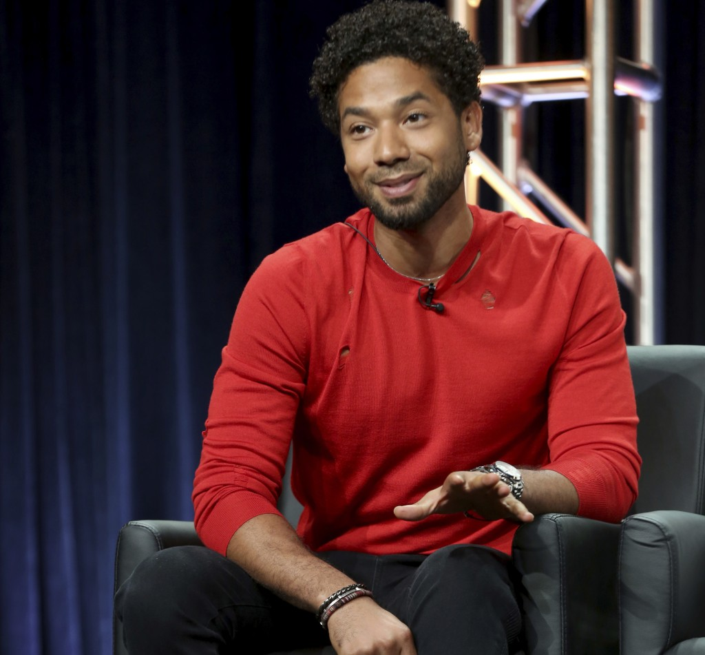 "FILE - In this Aug. 8, 2017 file photo, Jussie Smollett participates in the ""Empire"" panel during the FOX Television Critics Association Summer Press ..."