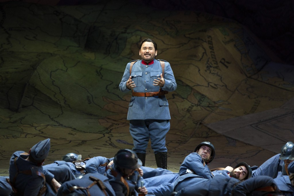 """This image released by the Metropolitan Opera shows tenor Javier Camarena rehearsing his aria with nine high C's as Tonio in Donizetti's """"The Daughter..."""