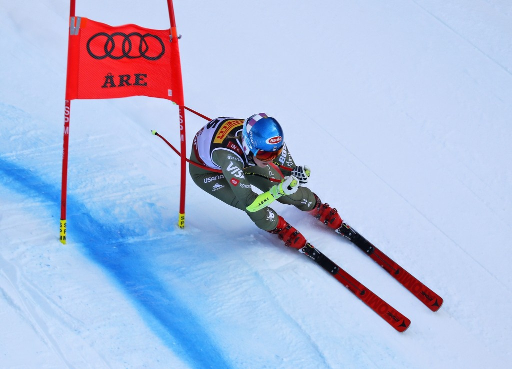 United States' Mikaela Shiffrin competes on her way to win the women's super G at the alpine ski World Championships, in Are, Sweden, Tuesday, Feb. 5,...