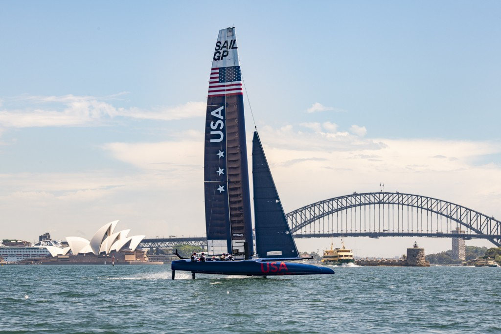 In this Sunday Feb. 3, 2019 photo provided by SailGP, SailGP USA Team practices in Sydney. Taylor Canfield, of the America's Cup challenger Stars & St