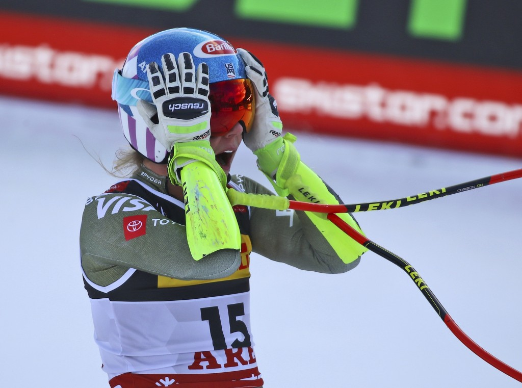 United States' Mikaela Shiffrin checks her time at the end of the women's super G during the alpine ski World Championships, in Are, Sweden, Tuesday, ...