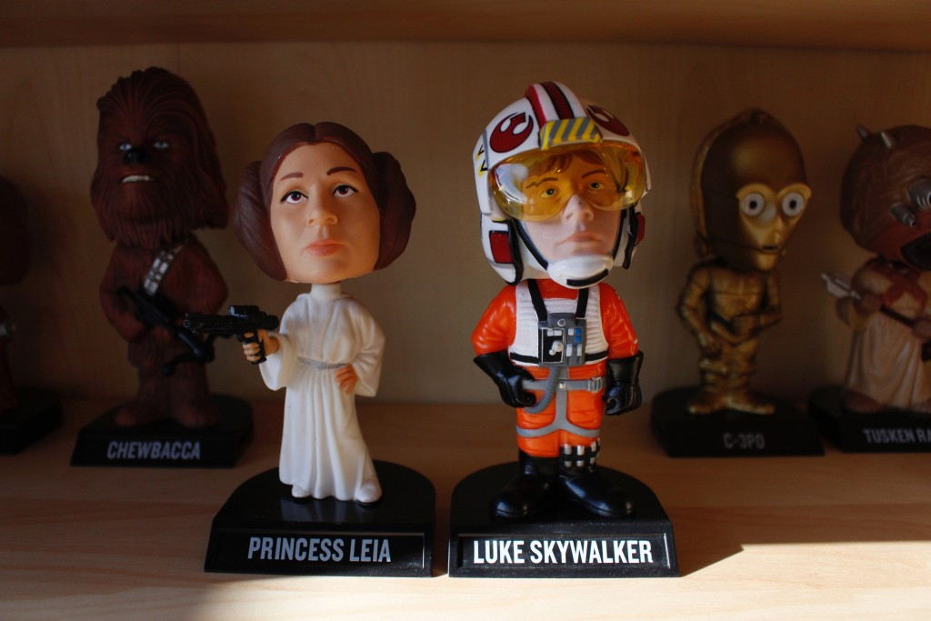 "In this Jan. 8, 2019 photo, bobbleheads from the ""Star Wars"" movies are displayed at National Bobblehead Hall of Fame and Museum in Milwaukee. The new"