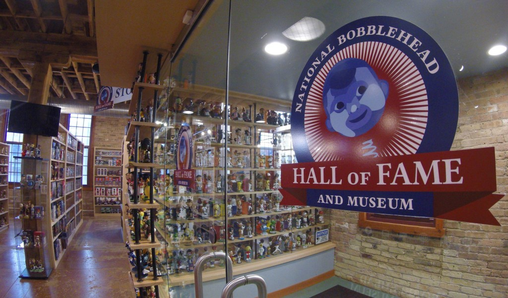 This Jan. 8, 2019 photo shows the National Bobblehead Hall of Fame and Museum in Milwaukee. The new museum will be displaying more than 6,500 figures
