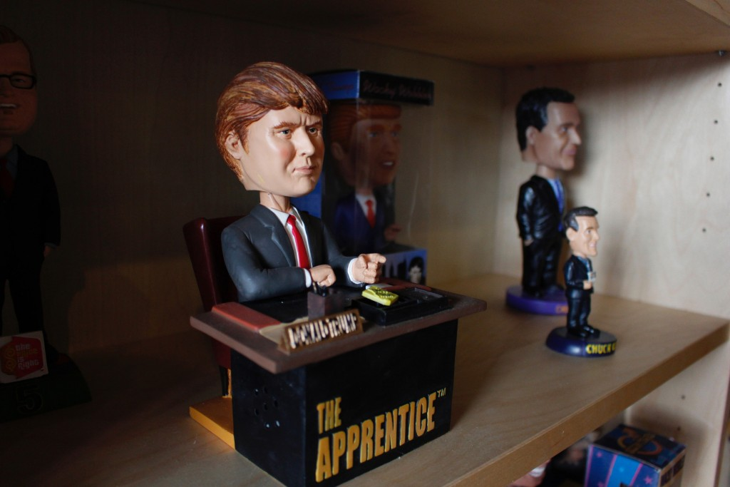 "In this Jan. 8, 2019 photo, a bobblehead depicting Donald Trump from the TV show ""The Apprentice,"" which says ""You're fired"" upon the press of a butto"