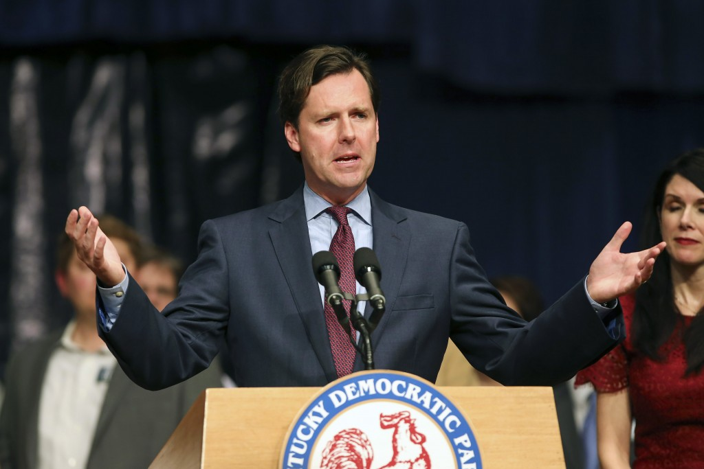 FILE - In this Nov 3, 2015 file photo, Democratic candidate for State Auditor Adam Edelen speaks to his supporters at the Kentucky Democratic Party ev...
