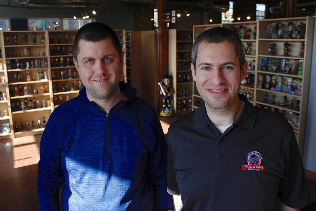 In this Jan. 8, 2019 photo, National Bobblehead Hall of Fame and Museum co-founders Brad Novak, left, and Phil Sklar, who started collecting figures 1