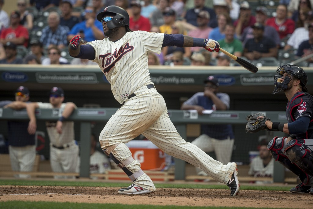FILE - In this Aug. 1, 2018, file photo, Minnesota Twins' Miguel Sano bats against the Cleveland Indians in the seventh inning of a baseball game, in ...