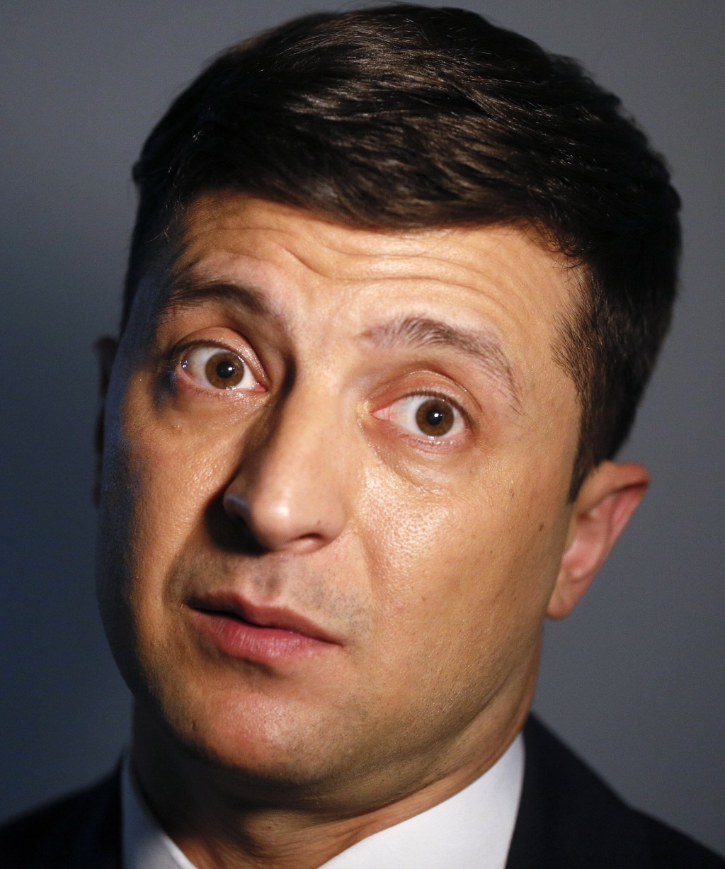 Ukrainian comedian and presidential candidate Volodymyr Zelenskiy speaks during his interview with The Associated Press, in Kiev, Ukraine, Wednesday, ...