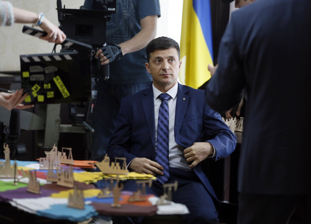 Ukrainian comedian Volodymyr Zelenskiy, who played the nation's president in a popular TV series, and is running for president in next month's electio