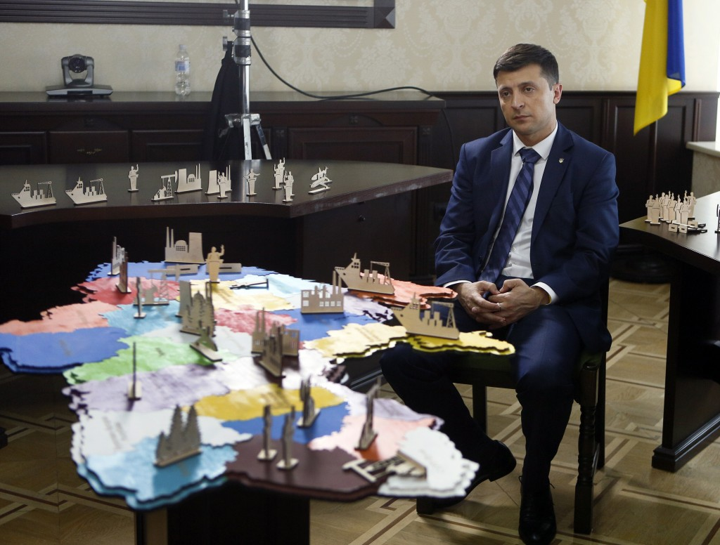 Ukrainian comedian Volodymyr Zelenskiy, who played the nation's president in a popular TV series, and is running for president in next month's electio...
