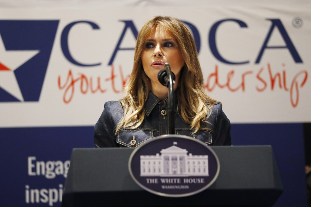 First lady Melania Trump speaks at the Community Anti-Drug Coalitions of America (CADCA) National Leadership Forum, in National Harbor, Md., Thursday,