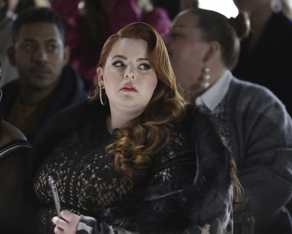 Model Tess Holliday attends the Tadashi Shoji Runway Show at Spring Studios during New York Fashion Week on Thursday, Feb. 7, 2019 in New York. (Photo