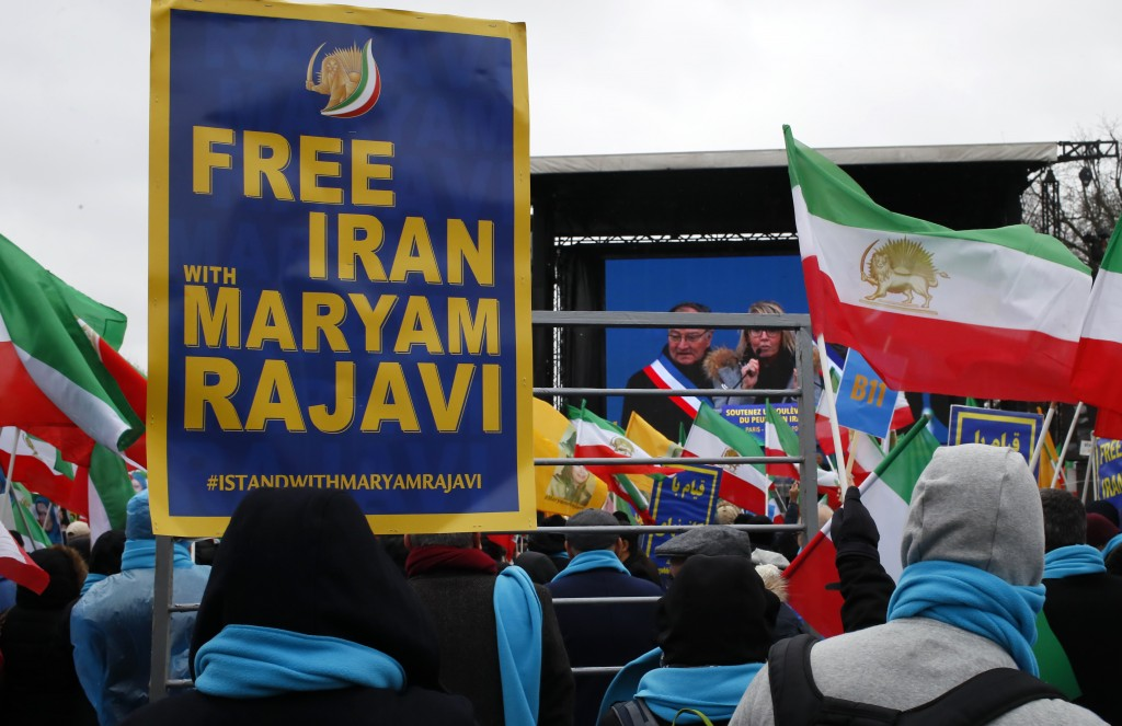 Supporters of Maryam Rajavi, the leader of the National Council of Resistance of Iran, gather during a rally in Paris, Friday Feb.8, 2019 as Iran mark
