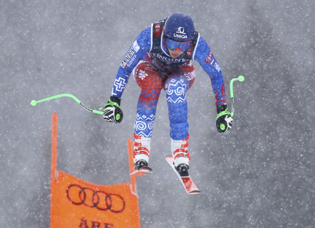 Slovakia's Petra Vlhova speeds down the course during the downhill portion of the women's combined, at the alpine ski World Championships in Are, Swed
