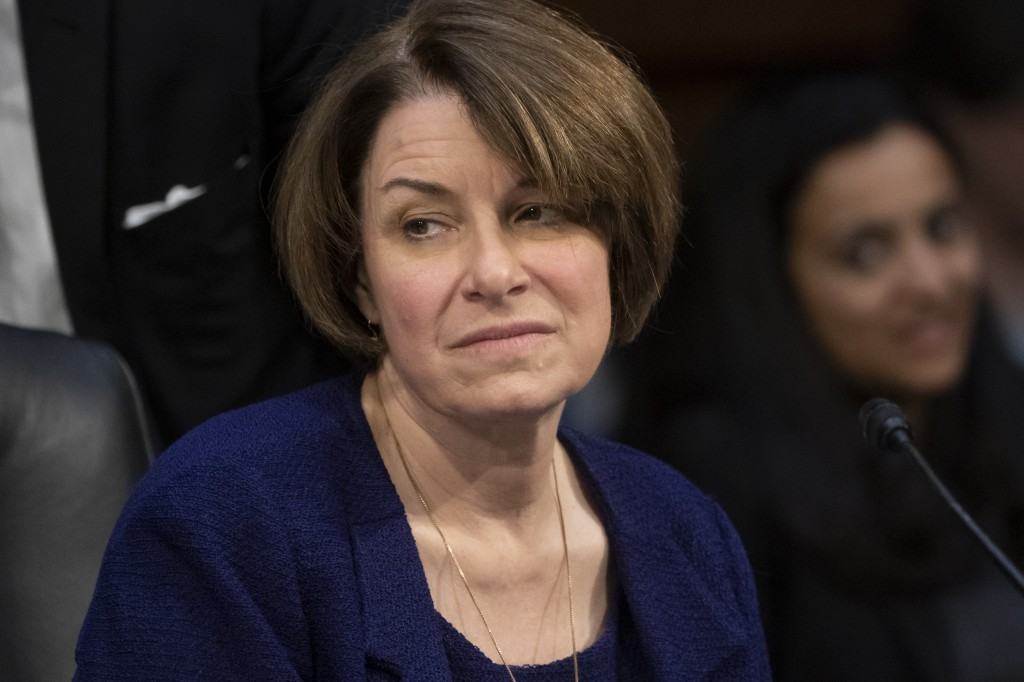 Senate Judiciary Committee member Sen. Amy Klobuchar, D-Minn., prepares to vote against advancing William Barr's nomination for attorney general, as t...