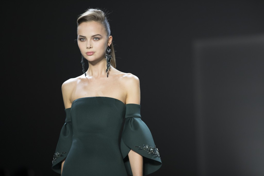 Fashion from the Badgley Mischka collection is modeled during New York Fashion Week, Thursday, Feb. 7, 2019. (AP Photo/Mary Altaffer)