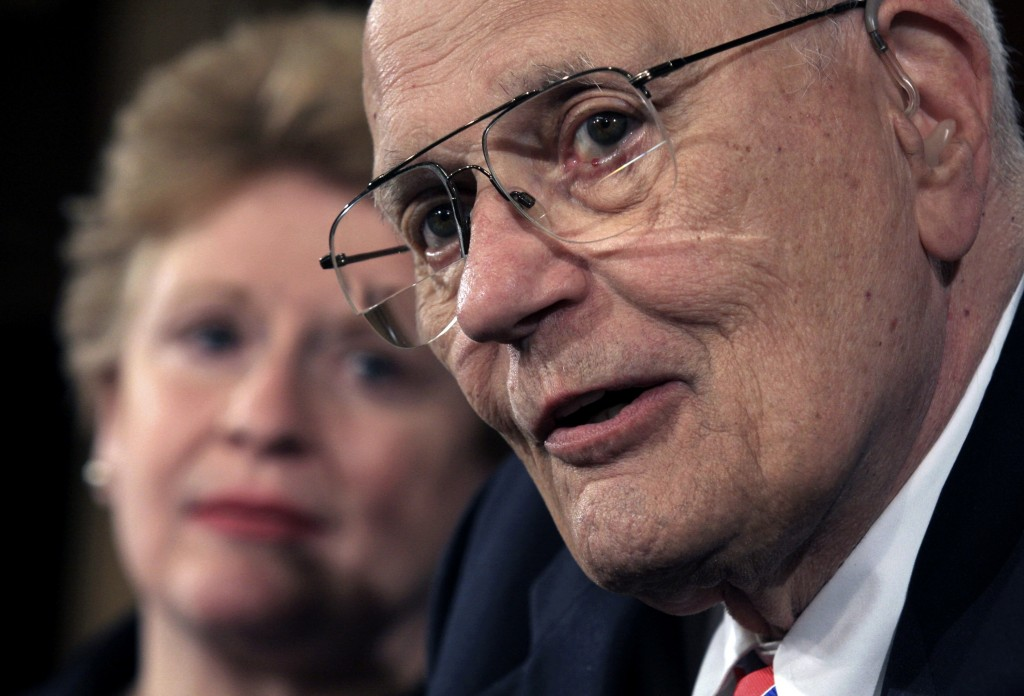 House Energy and Commerce Committee Chairman Rep. John Dingell D-Mich. right accompanied by Sen. Debbie St