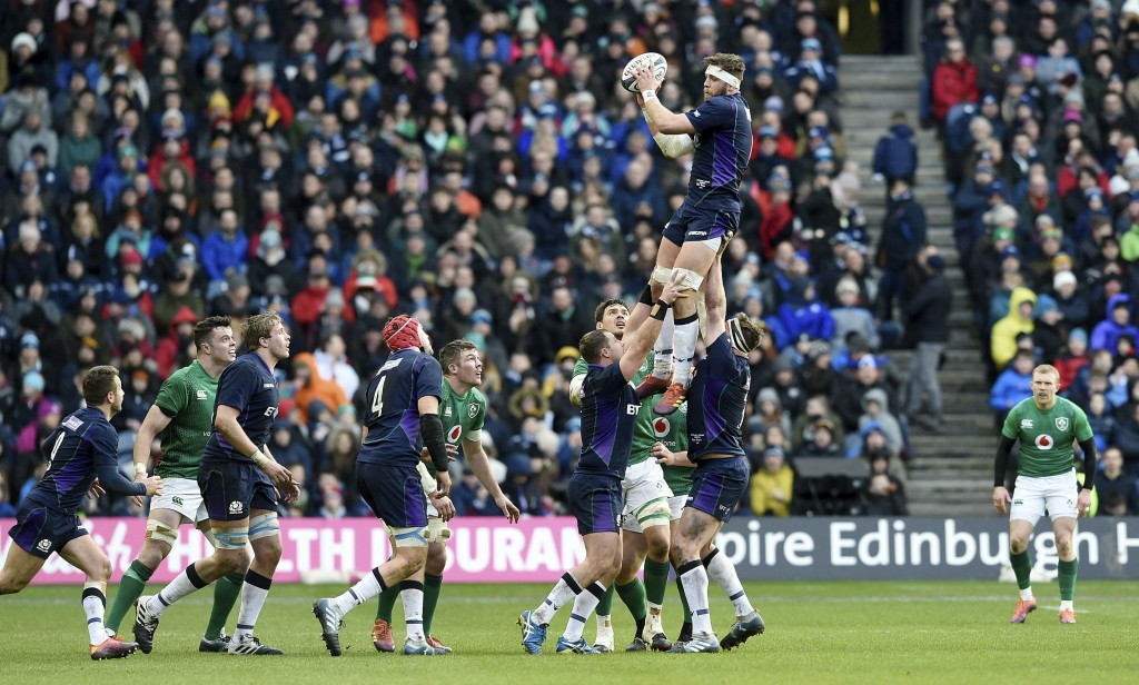 Scotland's Ryan Wilson wins the ball in a line out against Ireland, during the Six Nations Championship rugby match at Murrayfield Stadium in Edinburg...