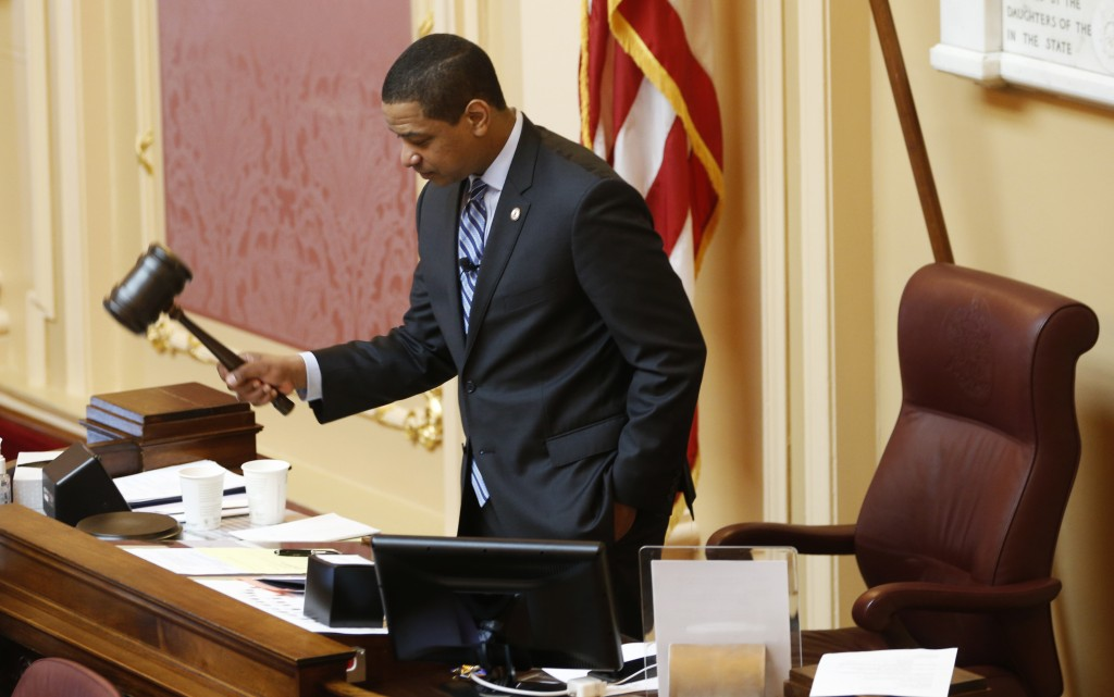 Virginia Lt. Gov. Justin Fairfax, gavels the session to order at the start of the Senate session at the Capitol in Richmond, Va., Friday, Feb. 8, 2019...