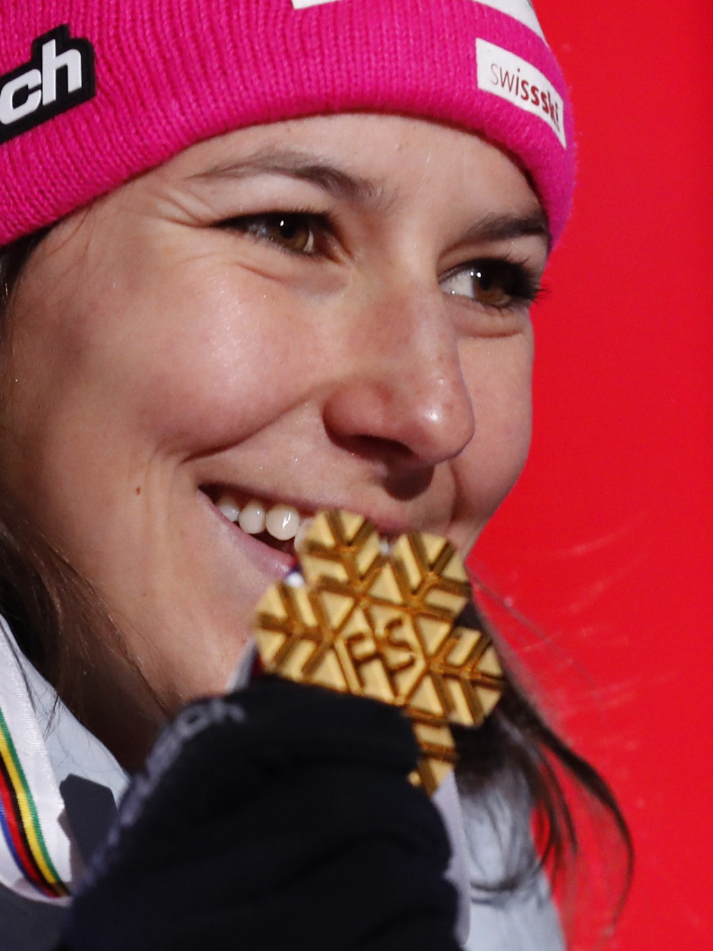 Switzerland's Wendy Holdener poses with her gold medal during the medal ceremony for the women's combined race, at the alpine ski World Championships